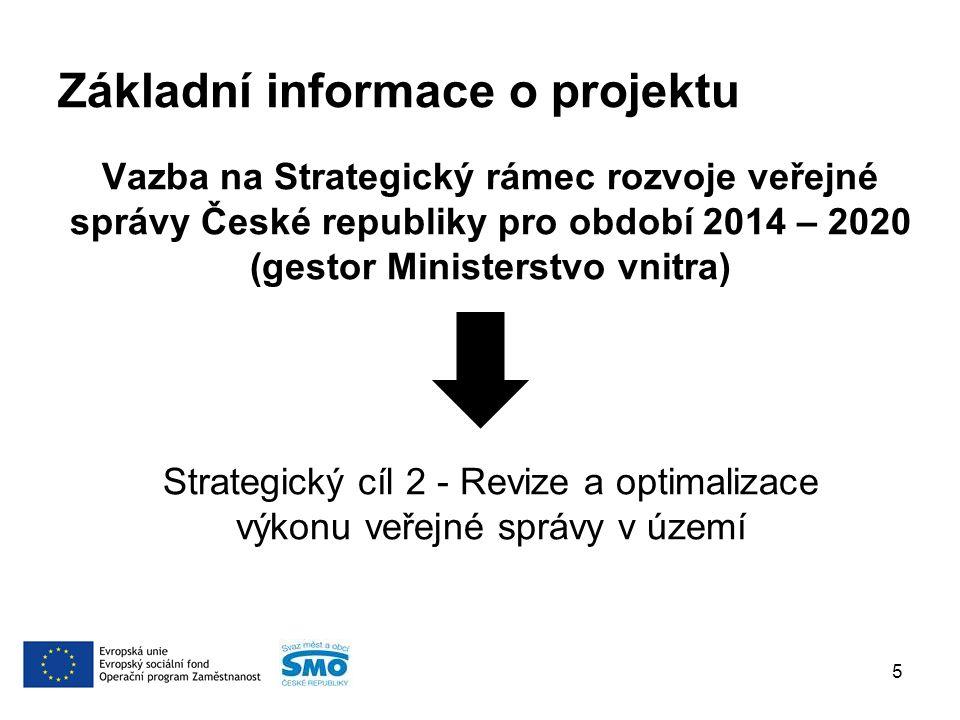 Základní informace o projektu Vazba na Strategický rámec rozvoje veřejné správy České republiky pro období 2014 – 2020 (gestor Ministerstvo vnitra) Strategický cíl 2 - Revize a optimalizace výkonu veřejné správy v území 5
