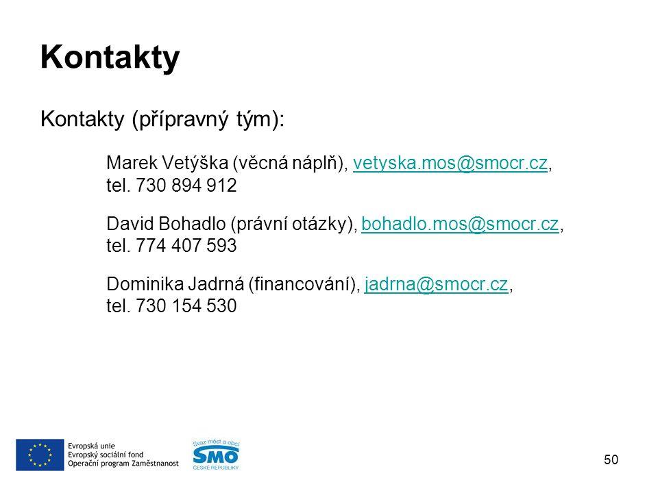 Kontakty Kontakty (přípravný tým): Marek Vetýška (věcná náplň), vetyska.mos@smocr.cz, tel.