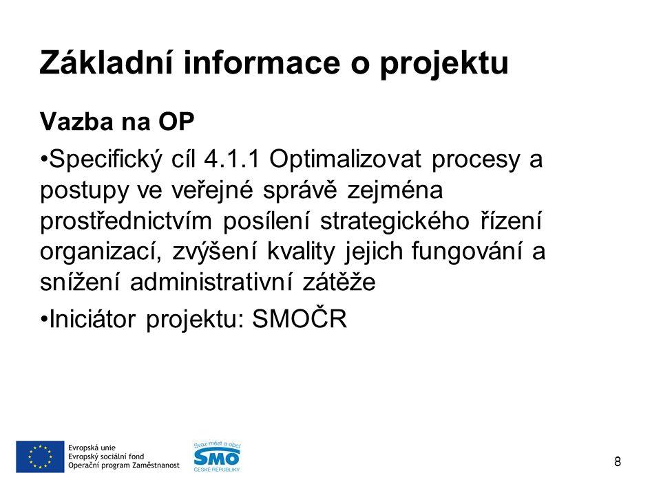 Základní informace o projektu Vazba na OP Specifický cíl 4.1.1 Optimalizovat procesy a postupy ve veřejné správě zejména prostřednictvím posílení strategického řízení organizací, zvýšení kvality jejich fungování a snížení administrativní zátěže Iniciátor projektu: SMOČR 8