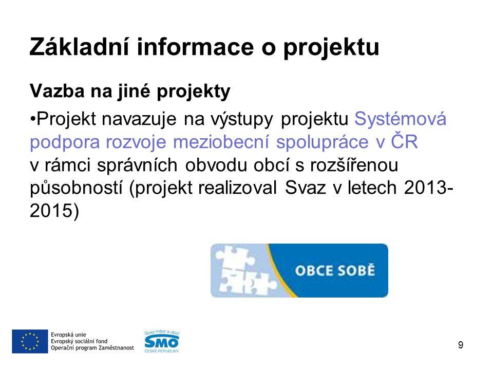 Základní informace o projektu Vazba na jiné projekty Projekt navazuje na výstupy projektu Systémová podpora rozvoje meziobecní spolupráce v ČR v rámci správních obvodu obcí s rozšířenou působností (projekt realizoval Svaz v letech 2013- 2015) 9