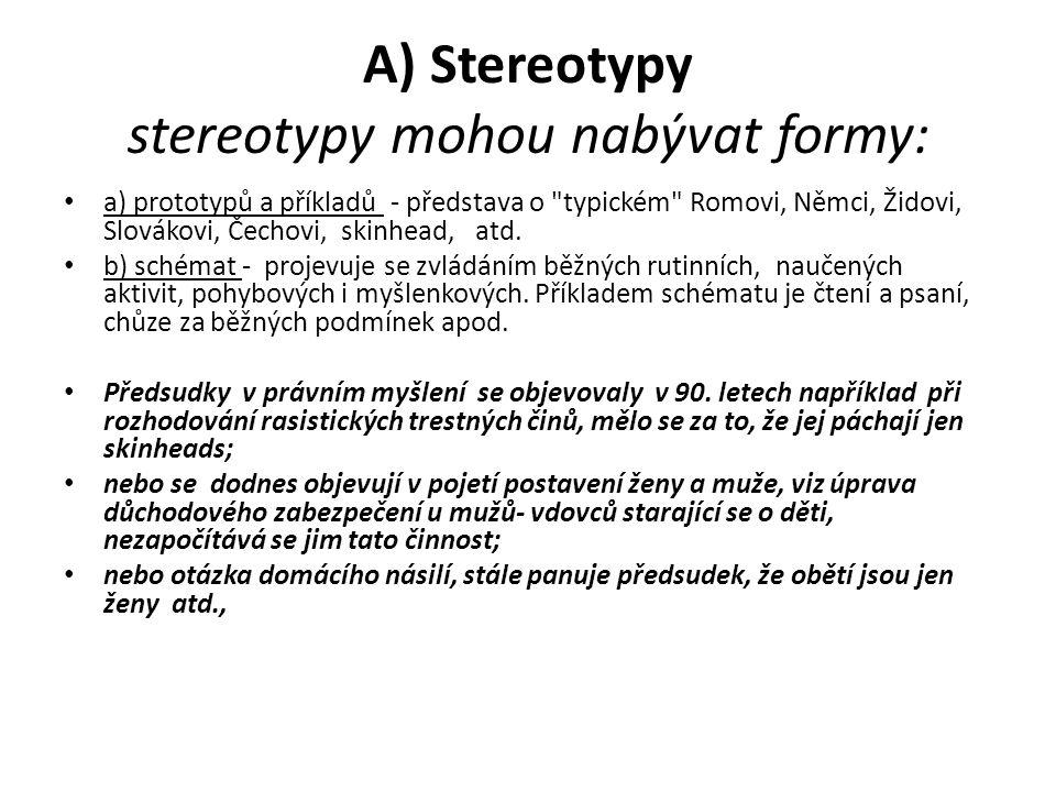 A) Stereotypy stereotypy mohou nabývat formy: a) prototypů a příkladů - představa o typickém Romovi, Němci, Židovi, Slovákovi, Čechovi, skinhead, atd.