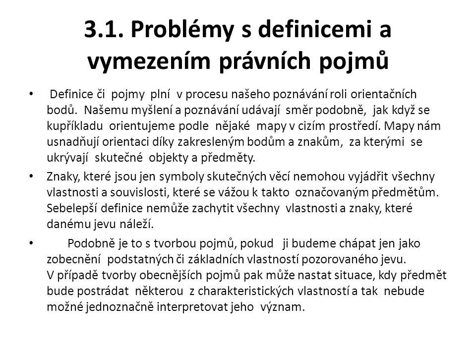 3.1. Problémy s definicemi a vymezením právních pojmů Definice či pojmy plní v procesu našeho poznávání roli orientačních bodů. Našemu myšlení a pozná