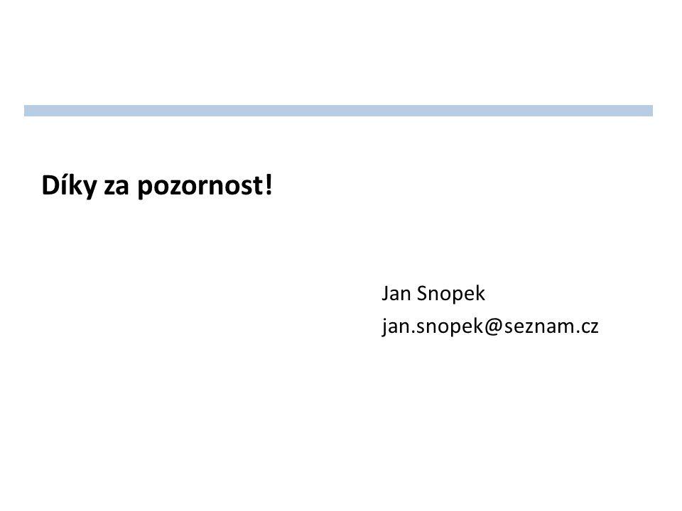 Díky za pozornost! Jan Snopek jan.snopek@seznam.cz