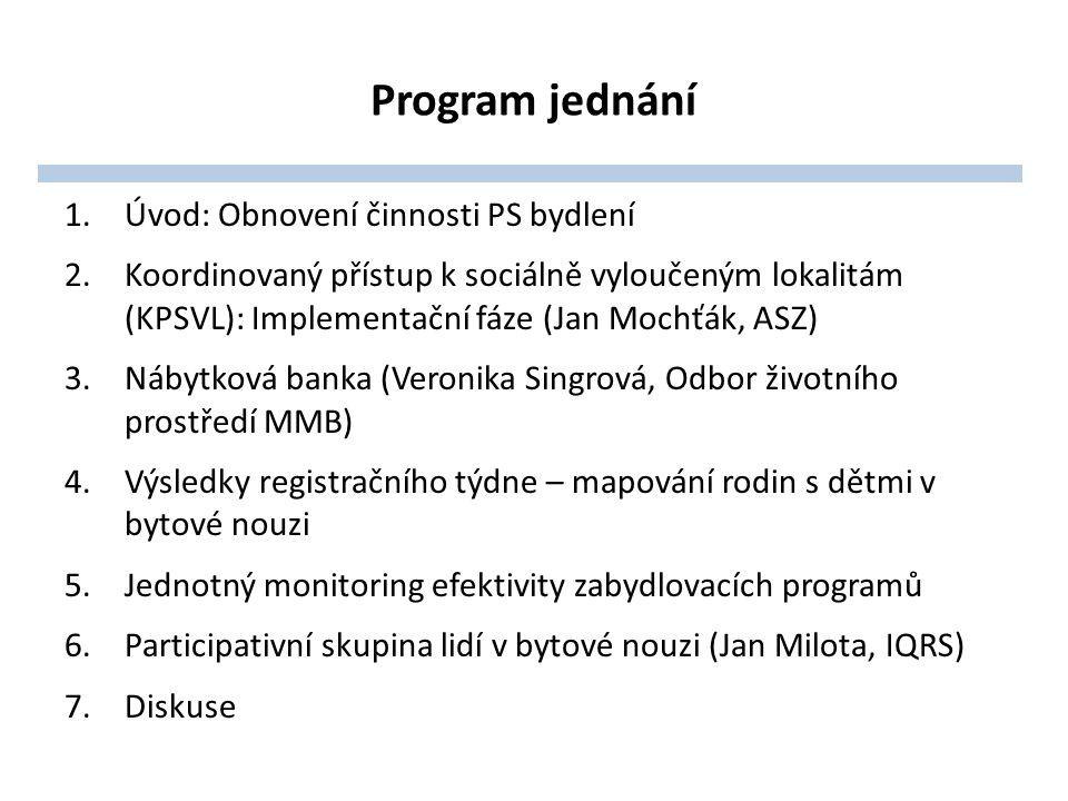 Program jednání 1.Úvod: Obnovení činnosti PS bydlení 2.Koordinovaný přístup k sociálně vyloučeným lokalitám (KPSVL): Implementační fáze (Jan Mochťák, ASZ) 3.Nábytková banka (Veronika Singrová, Odbor životního prostředí MMB) 4.Výsledky registračního týdne – mapování rodin s dětmi v bytové nouzi 5.Jednotný monitoring efektivity zabydlovacích programů 6.Participativní skupina lidí v bytové nouzi (Jan Milota, IQRS) 7.Diskuse