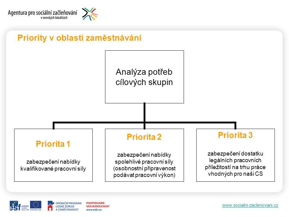 www.socialni-zaclenovani.cz Priority v oblasti zaměstnávání Analýza potřeb cílových skupin Priorita 1 zabezpečení nabídky kvalifikované pracovní síly Priorita 2 zabezpečení nabídky spolehlivé pracovní síly (osobnostní připravenost podávat pracovní výkon) Priorita 3 zabezpečení dostatku legálních pracovních příležitostí na trhu práce vhodných pro naši CS