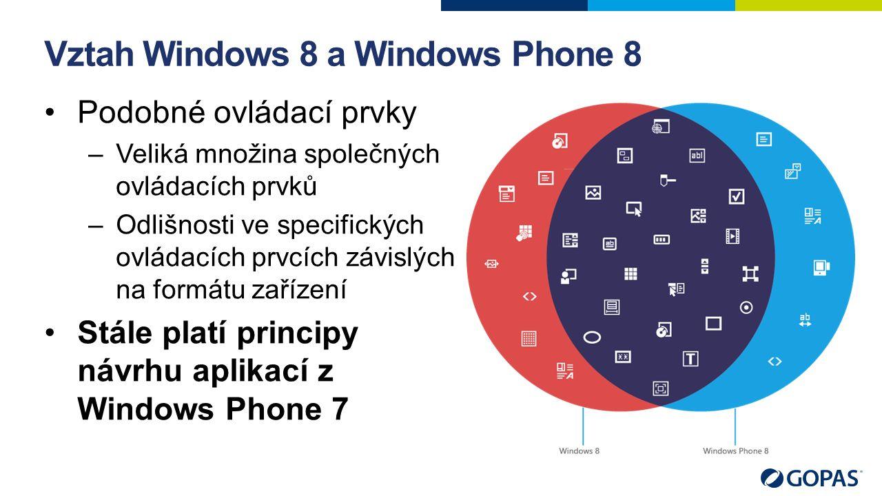Vztah Windows 8 a Windows Phone 8 Podobné ovládací prvky –Veliká množina společných ovládacích prvků –Odlišnosti ve specifických ovládacích prvcích zá