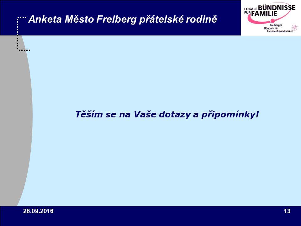 26.09.201613 Anketa Město Freiberg přátelské rodině Těším se na Vaše dotazy a připomínky!