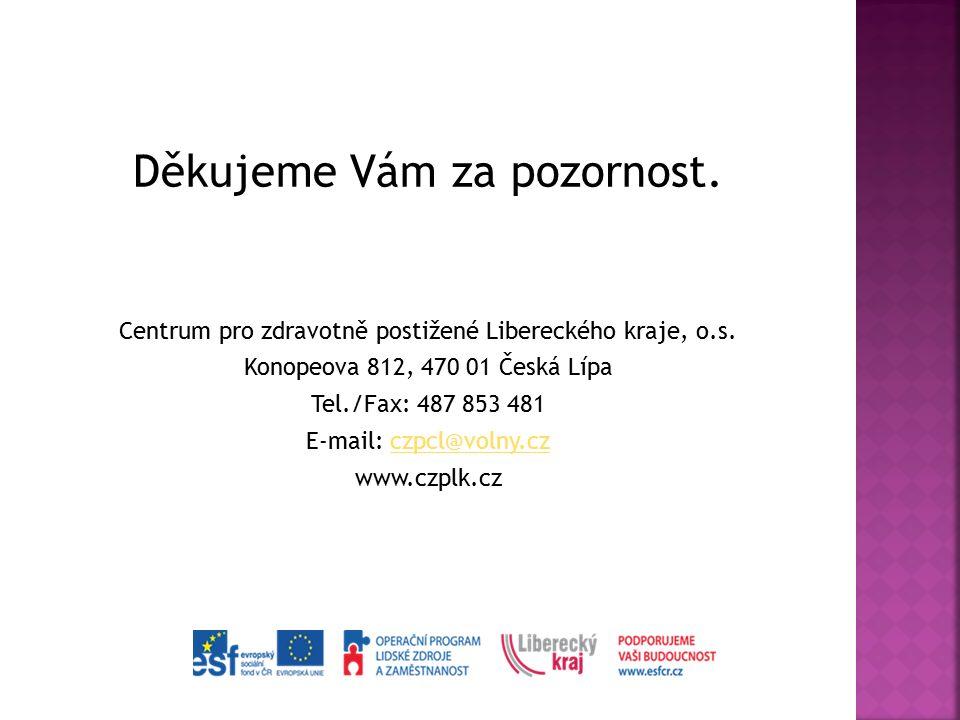 Děkujeme Vám za pozornost. Centrum pro zdravotně postižené Libereckého kraje, o.s. Konopeova 812, 470 01 Česká Lípa Tel./Fax: 487 853 481 E-mail: czpc