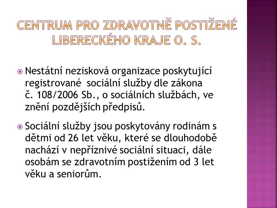  Nestátní nezisková organizace poskytující registrované sociální služby dle zákona č. 108/2006 Sb., o sociálních službách, ve znění pozdějších předpi