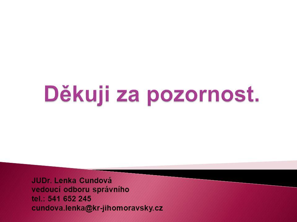 JUDr. Lenka Cundová vedoucí odboru správního tel.: 541 652 245 cundova.lenka@kr-jihomoravsky.cz