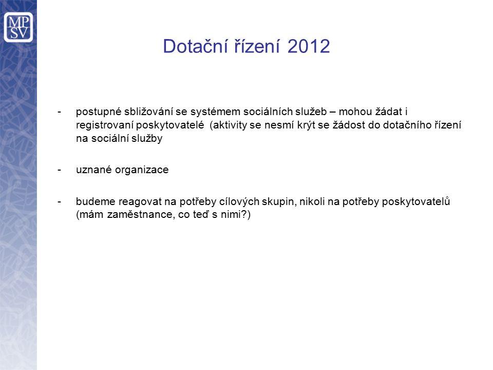 Dotační řízení 2012 -postupné sbližování se systémem sociálních služeb – mohou žádat i registrovaní poskytovatelé (aktivity se nesmí krýt se žádost do