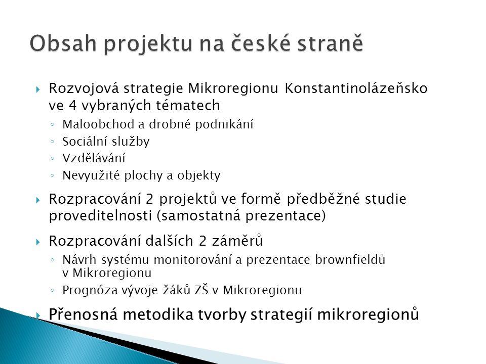  Rozvojová strategie Mikroregionu Konstantinolázeňsko ve 4 vybraných tématech ◦ Maloobchod a drobné podnikání ◦ Sociální služby ◦ Vzdělávání ◦ Nevyužité plochy a objekty  Rozpracování 2 projektů ve formě předběžné studie proveditelnosti (samostatná prezentace)  Rozpracování dalších 2 záměrů ◦ Návrh systému monitorování a prezentace brownfieldů v Mikroregionu ◦ Prognóza vývoje žáků ZŠ v Mikroregionu  Přenosná metodika tvorby strategií mikroregionů