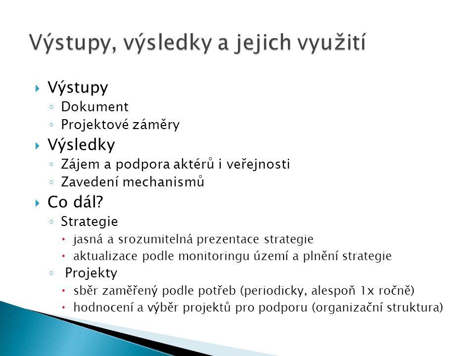  Výstupy ◦ Dokument ◦ Projektové záměry  Výsledky ◦ Zájem a podpora aktérů i veřejnosti ◦ Zavedení mechanismů  Co dál? ◦ Strategie  jasná a srozum