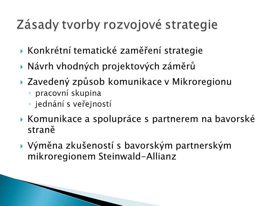  Konkrétní tematické zaměření strategie  Návrh vhodných projektových záměrů  Zavedený způsob komunikace v Mikroregionu ◦ pracovní skupina ◦ jednání s veřejností  Komunikace a spolupráce s partnerem na bavorské straně  Výměna zkušeností s bavorským partnerským mikroregionem Steinwald-Allianz