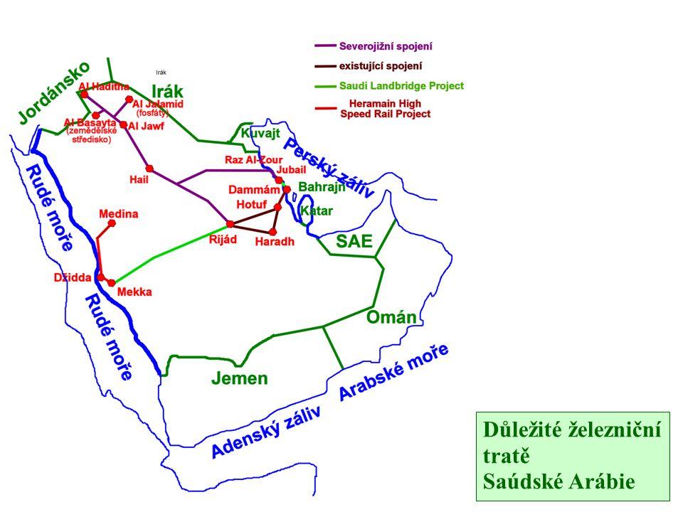 Důležité železniční tratě Saúdské Arábie