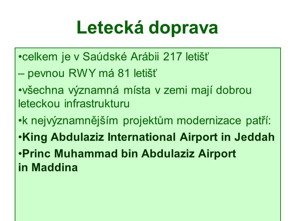 Letecká doprava celkem je v Saúdské Arábii 217 letišť – pevnou RWY má 81 letišť všechna významná místa v zemi mají dobrou leteckou infrastrukturu k nejvýznamnějším projektům modernizace patří: King Abdulaziz International Airport in Jeddah Princ Muhammad bin Abdulaziz Airport in Maddina