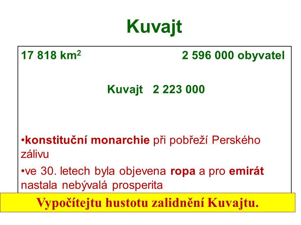 Kuvajt 17 818 km 2 2 596 000 obyvatel Kuvajt 2 223 000 konstituční monarchie při pobřeží Perského zálivu ve 30.