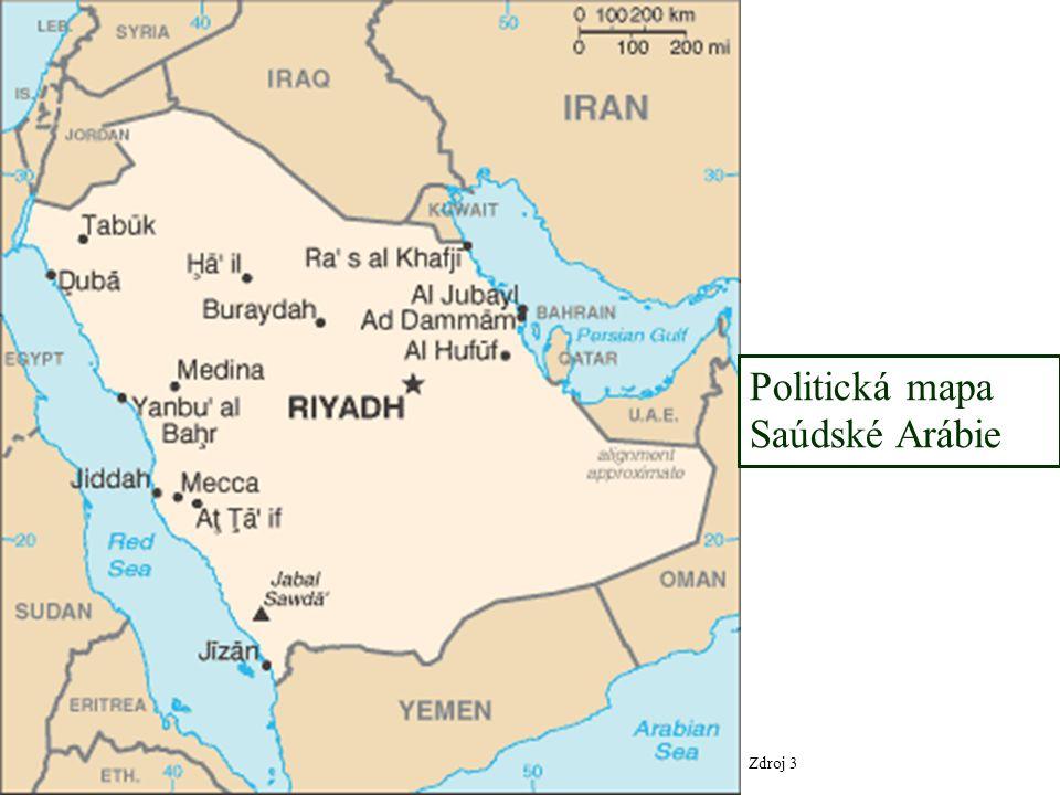 Zdroj 3 Politická mapa Saúdské Arábie