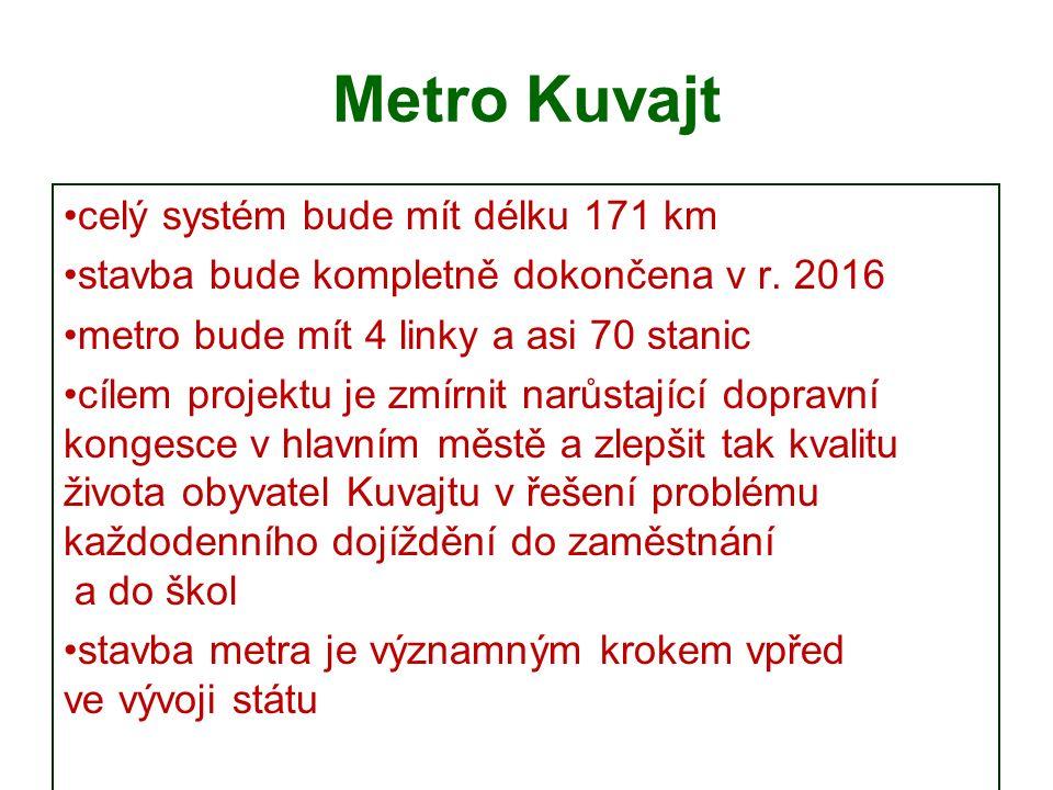 Metro Kuvajt celý systém bude mít délku 171 km stavba bude kompletně dokončena v r.