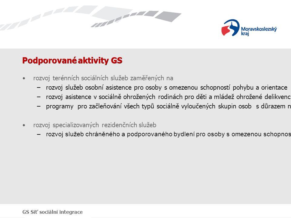 GS Síť sociální integrace Podporované aktivity GS rozvoj terénních sociálních služeb zaměřených na –rozvoj služeb osobní asistence pro osoby s omezenou schopností pohybu a orientace –rozvoj asistence v sociálně ohrožených rodinách pro děti a mládež ohrožené delikvencí a dlouhodobě nezaměstnané –programy pro začleňování všech typů sociálně vyloučených skupin osob s důrazem na venkovské oblasti rozvoj specializovaných rezidenčních služeb –rozvoj služeb chráněného a podporovaného bydlení pro osoby s omezenou schopností pohybu a orientace