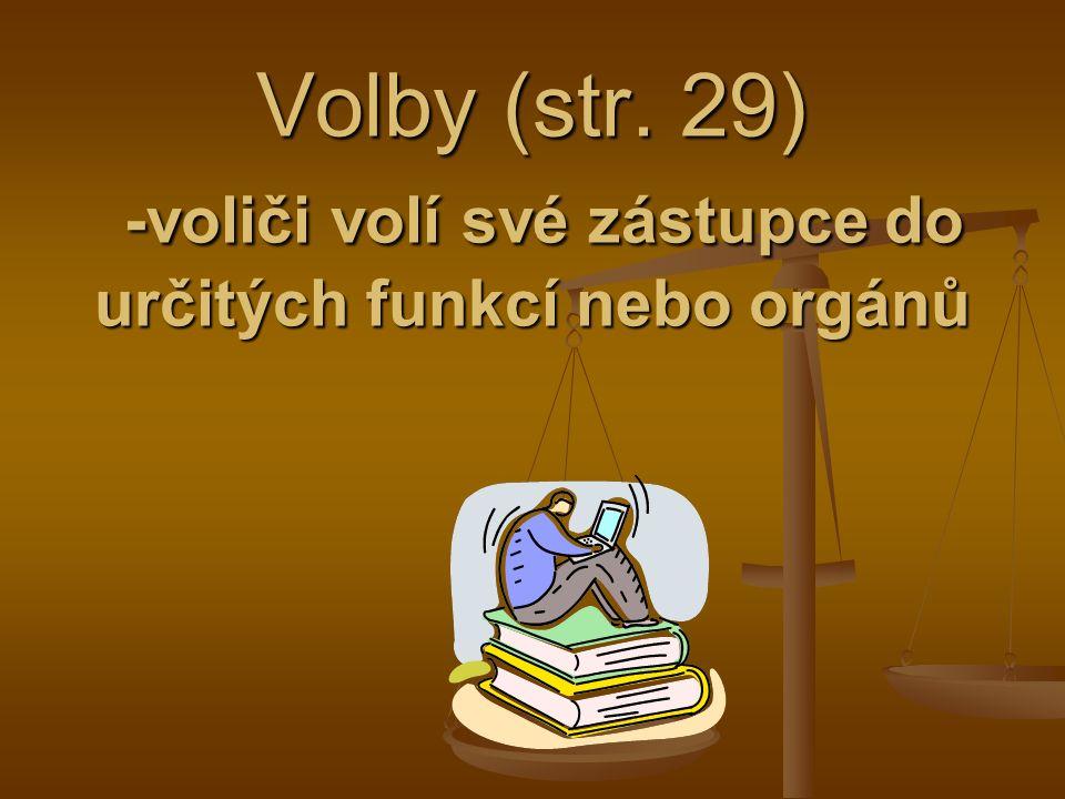 Volby (str. 29) -voliči volí své zástupce do určitých funkcí nebo orgánů
