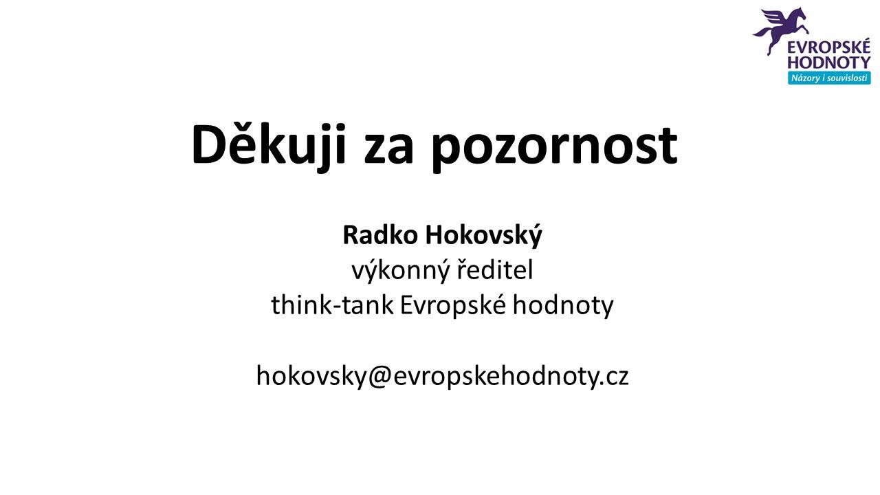 Děkuji za pozornost Radko Hokovský výkonný ředitel think-tank Evropské hodnoty hokovsky@evropskehodnoty.cz