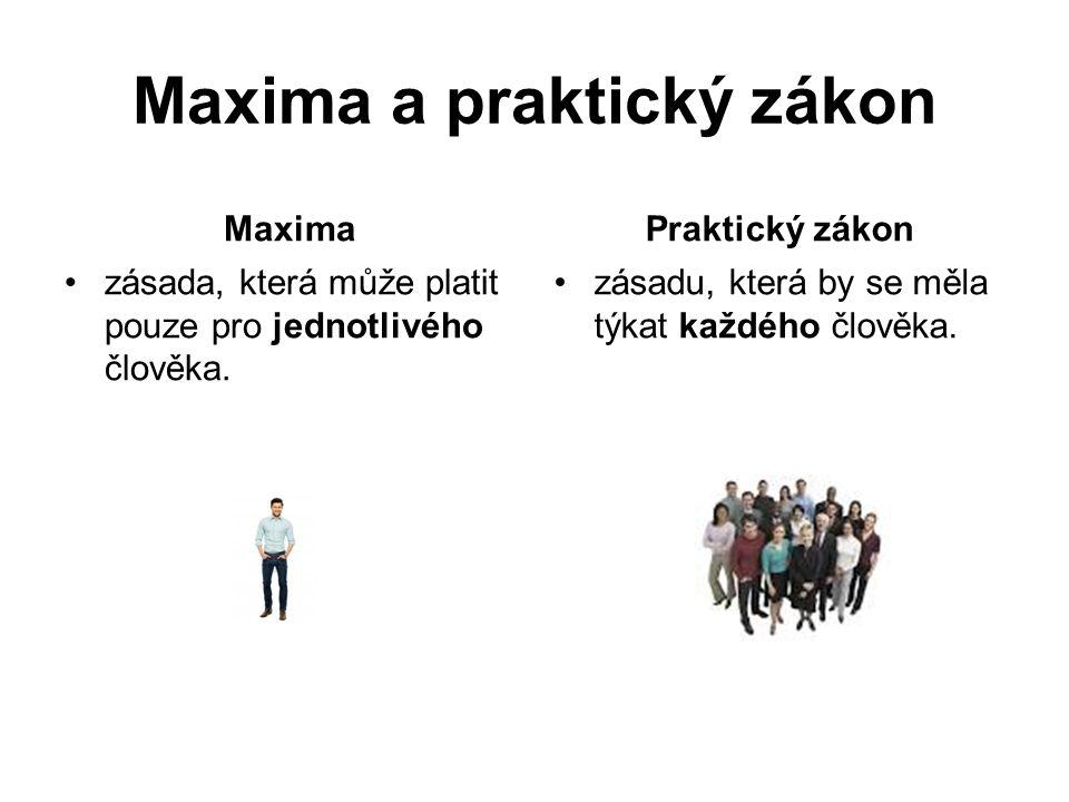 Maxima a praktický zákon Maxima zásada, která může platit pouze pro jednotlivého člověka.