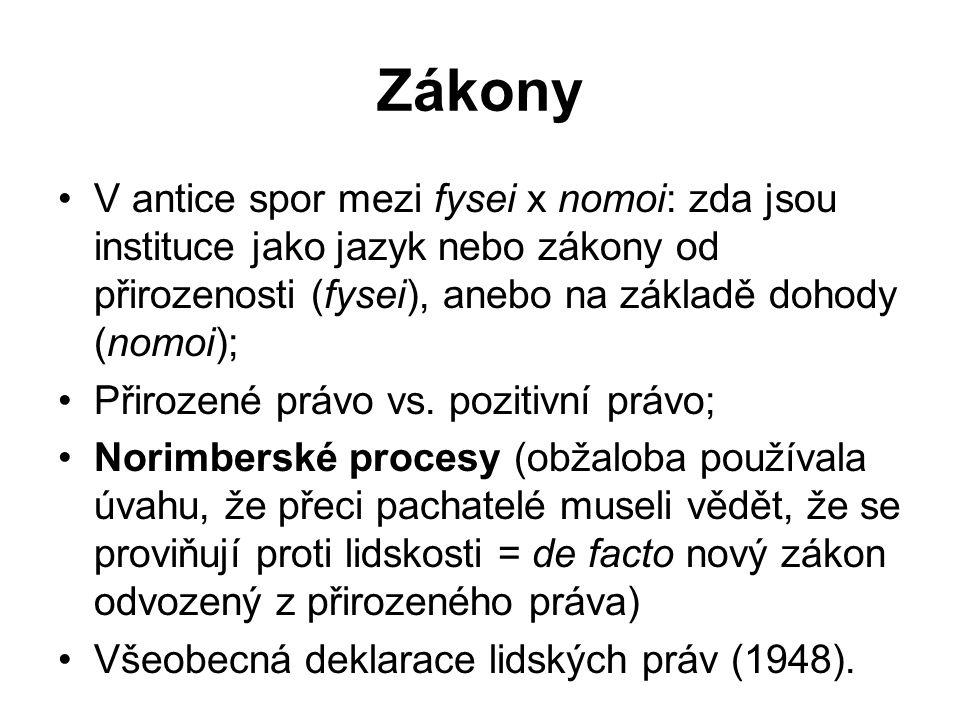 Zákony V antice spor mezi fysei x nomoi: zda jsou instituce jako jazyk nebo zákony od přirozenosti (fysei), anebo na základě dohody (nomoi); Přirozené právo vs.