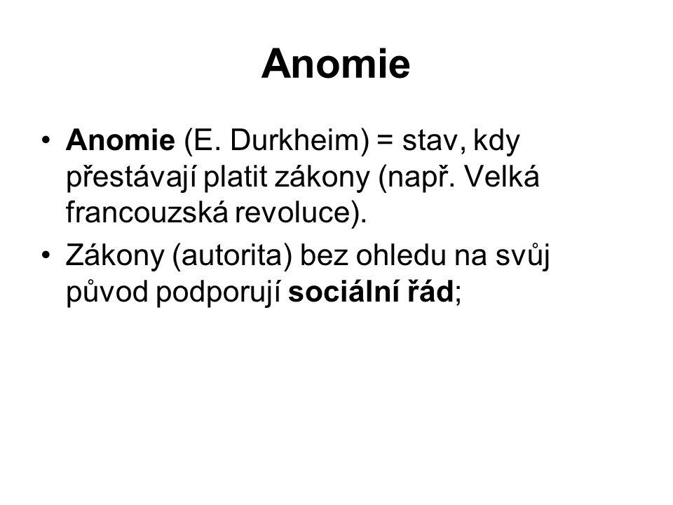 Anomie Anomie (E. Durkheim) = stav, kdy přestávají platit zákony (např.