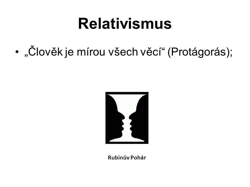 """Relativismus """"Člověk je mírou všech věcí (Protágorás); Rubinův Pohár"""