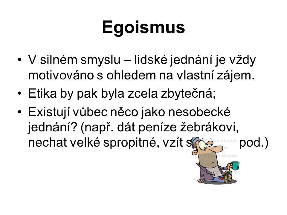 Egoismus V silném smyslu – lidské jednání je vždy motivováno s ohledem na vlastní zájem.