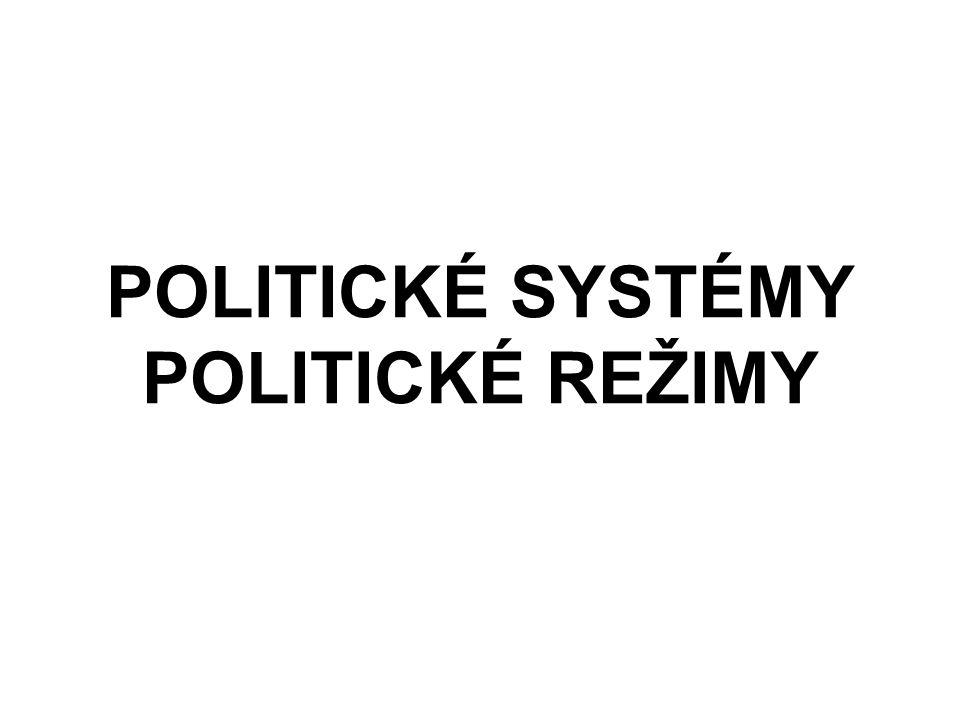 POLITICKÉ SYSTÉMY POLITICKÉ REŽIMY