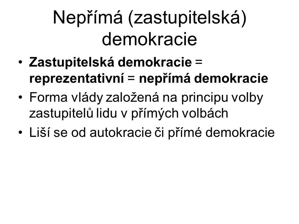 Nepřímá (zastupitelská) demokracie Zastupitelská demokracie = reprezentativní = nepřímá demokracie Forma vlády založená na principu volby zastupitelů lidu v přímých volbách Liší se od autokracie či přímé demokracie