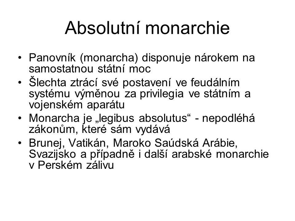 """Absolutní monarchie Panovník (monarcha) disponuje nárokem na samostatnou státní moc Šlechta ztrácí své postavení ve feudálním systému výměnou za privilegia ve státním a vojenském aparátu Monarcha je """"legibus absolutus - nepodléhá zákonům, které sám vydává Brunej, Vatikán, Maroko Saúdská Arábie, Svazijsko a případně i další arabské monarchie v Perském zálivu"""