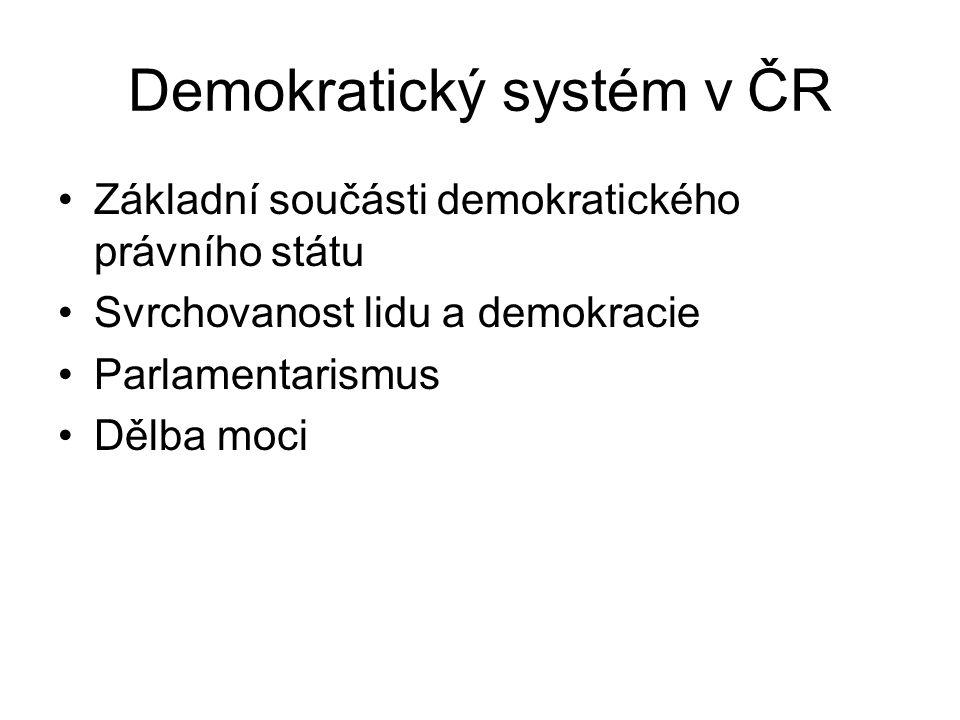 Demokratický systém v ČR Základní součásti demokratického právního státu Svrchovanost lidu a demokracie Parlamentarismus Dělba moci