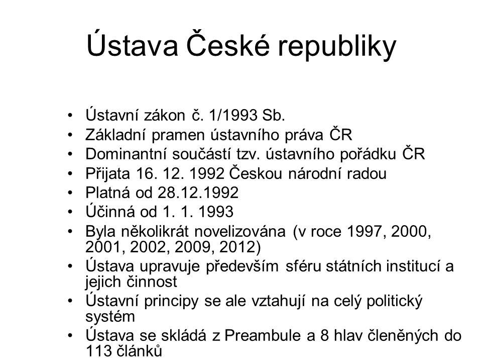 Ústava České republiky Ústavní zákon č. 1/1993 Sb.