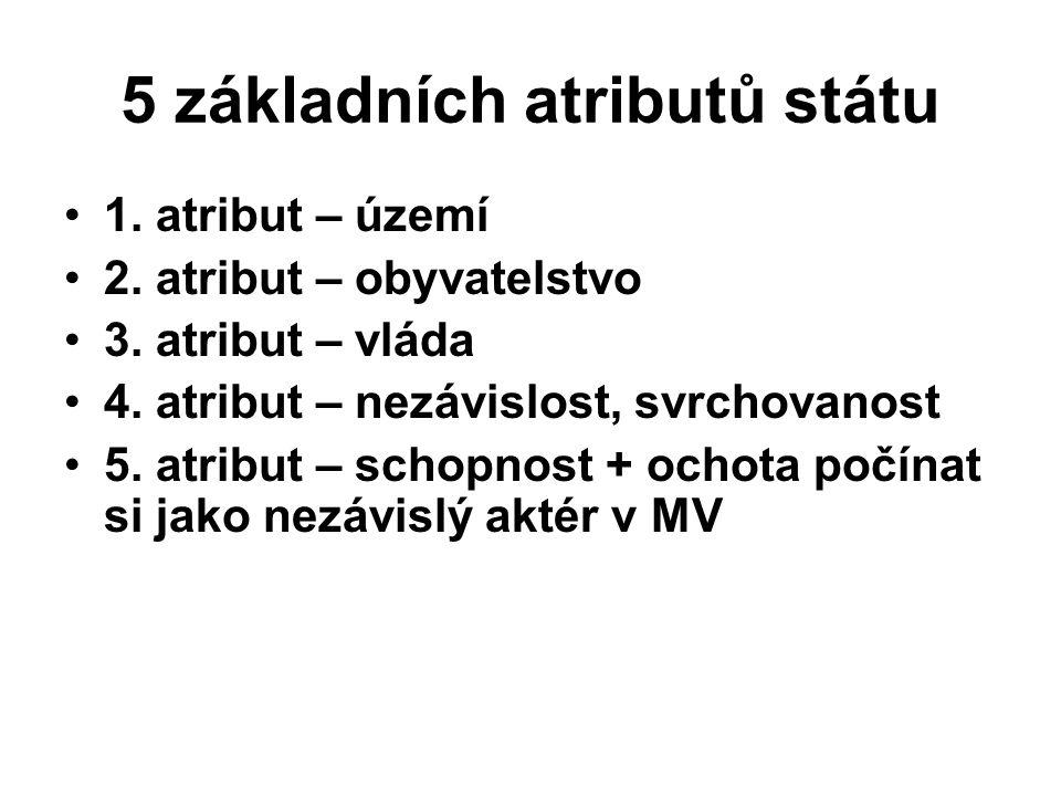 5 základních atributů státu 1. atribut – území 2.