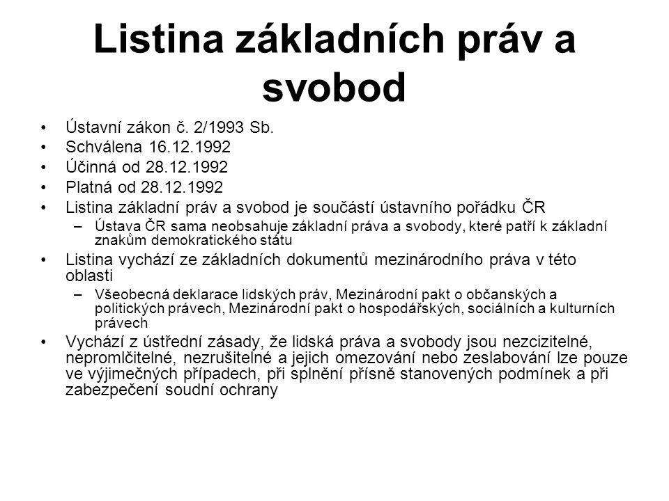 Listina základních práv a svobod Ústavní zákon č. 2/1993 Sb.