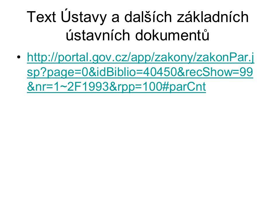 Text Ústavy a dalších základních ústavních dokumentů http://portal.gov.cz/app/zakony/zakonPar.j sp page=0&idBiblio=40450&recShow=99 &nr=1~2F1993&rpp=100#parCnthttp://portal.gov.cz/app/zakony/zakonPar.j sp page=0&idBiblio=40450&recShow=99 &nr=1~2F1993&rpp=100#parCnt
