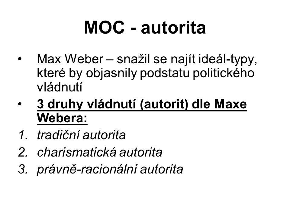 MOC - autorita Max Weber – snažil se najít ideál-typy, které by objasnily podstatu politického vládnutí 3 druhy vládnutí (autorit) dle Maxe Webera: 1.tradiční autorita 2.charismatická autorita 3.právně-racionální autorita