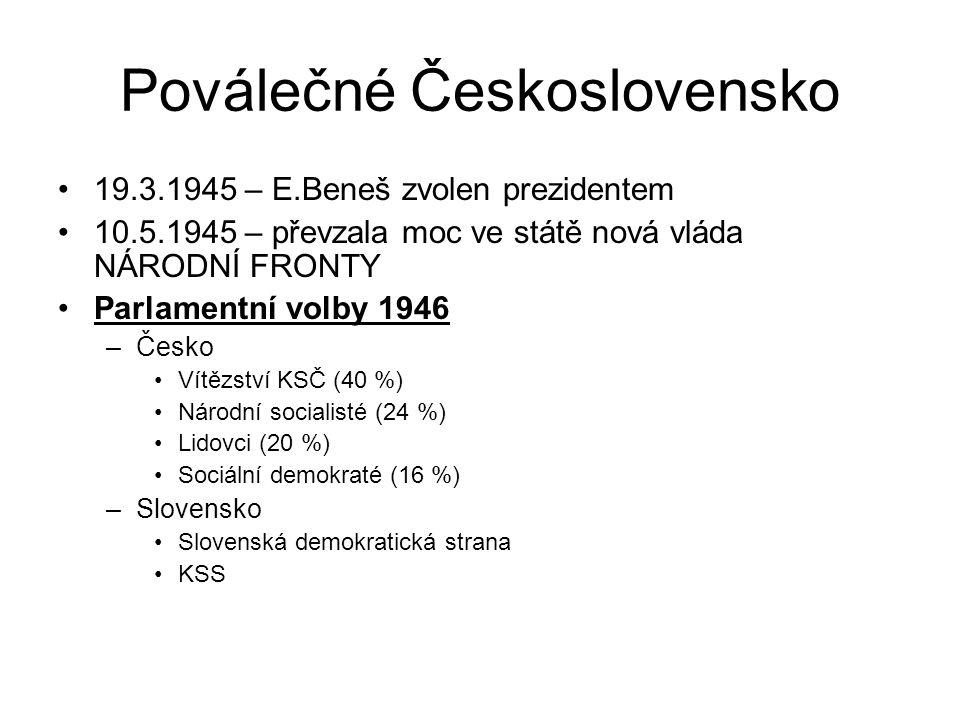 Poválečné Československo 19.3.1945 – E.Beneš zvolen prezidentem 10.5.1945 – převzala moc ve státě nová vláda NÁRODNÍ FRONTY Parlamentní volby 1946 –Česko Vítězství KSČ (40 %) Národní socialisté (24 %) Lidovci (20 %) Sociální demokraté (16 %) –Slovensko Slovenská demokratická strana KSS