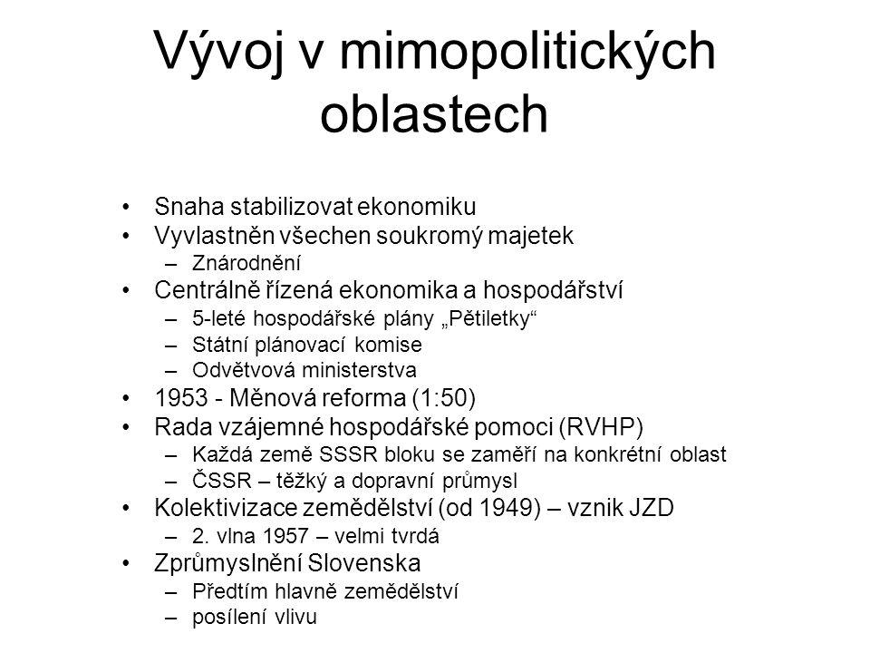 """Vývoj v mimopolitických oblastech Snaha stabilizovat ekonomiku Vyvlastněn všechen soukromý majetek –Znárodnění Centrálně řízená ekonomika a hospodářství –5-leté hospodářské plány """"Pětiletky –Státní plánovací komise –Odvětvová ministerstva 1953 - Měnová reforma (1:50) Rada vzájemné hospodářské pomoci (RVHP) –Každá země SSSR bloku se zaměří na konkrétní oblast –ČSSR – těžký a dopravní průmysl Kolektivizace zemědělství (od 1949) – vznik JZD –2."""