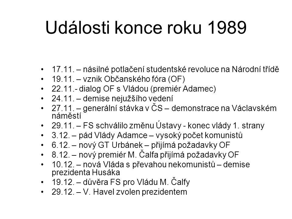 Události konce roku 1989 17.11. – násilné potlačení studentské revoluce na Národní třídě 19.11.