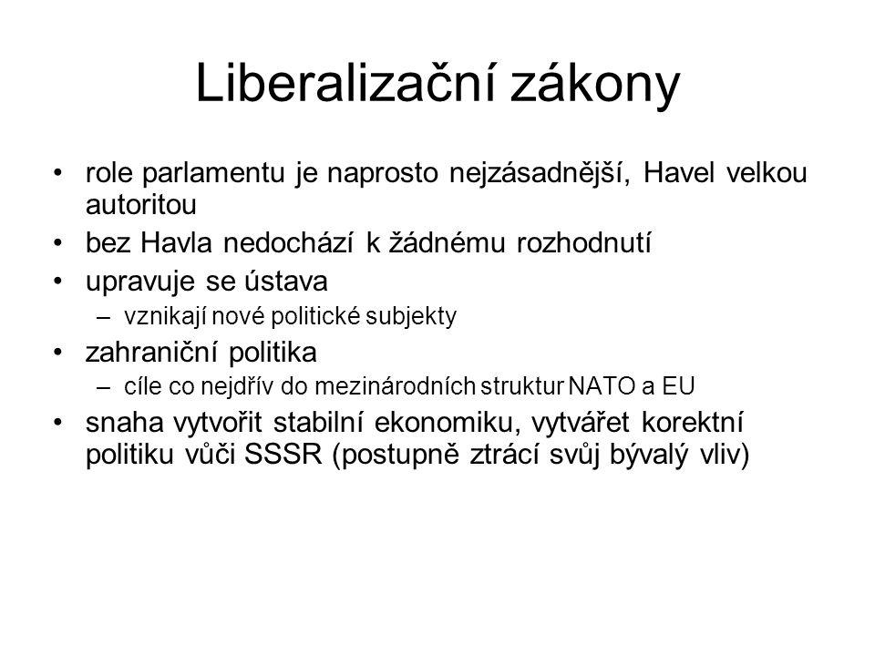 Liberalizační zákony role parlamentu je naprosto nejzásadnější, Havel velkou autoritou bez Havla nedochází k žádnému rozhodnutí upravuje se ústava –vznikají nové politické subjekty zahraniční politika –cíle co nejdřív do mezinárodních struktur NATO a EU snaha vytvořit stabilní ekonomiku, vytvářet korektní politiku vůči SSSR (postupně ztrácí svůj bývalý vliv)