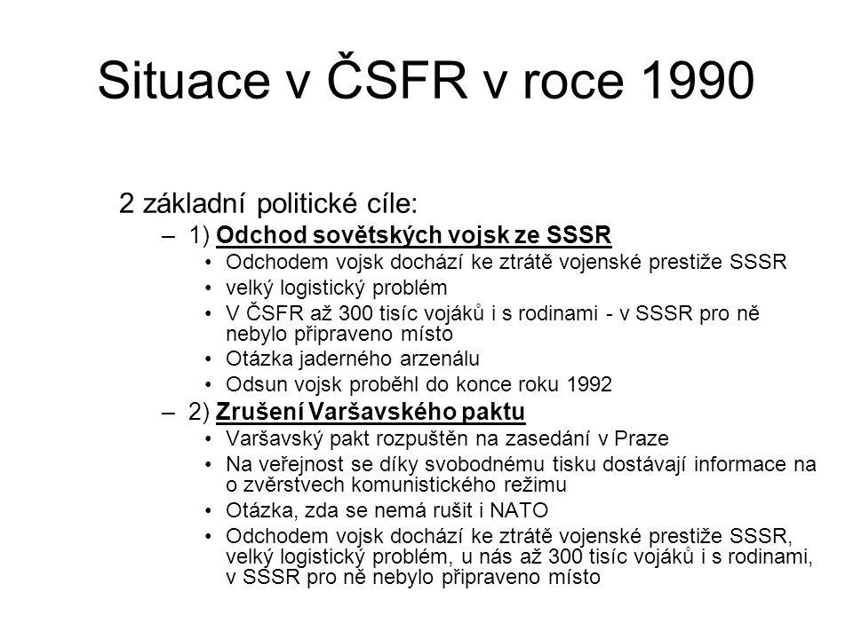 Situace v ČSFR v roce 1990 2 základní politické cíle: –1) Odchod sovětských vojsk ze SSSR Odchodem vojsk dochází ke ztrátě vojenské prestiže SSSR velký logistický problém V ČSFR až 300 tisíc vojáků i s rodinami - v SSSR pro ně nebylo připraveno místo Otázka jaderného arzenálu Odsun vojsk proběhl do konce roku 1992 –2) Zrušení Varšavského paktu Varšavský pakt rozpuštěn na zasedání v Praze Na veřejnost se díky svobodnému tisku dostávají informace na o zvěrstvech komunistického režimu Otázka, zda se nemá rušit i NATO Odchodem vojsk dochází ke ztrátě vojenské prestiže SSSR, velký logistický problém, u nás až 300 tisíc vojáků i s rodinami, v SSSR pro ně nebylo připraveno místo