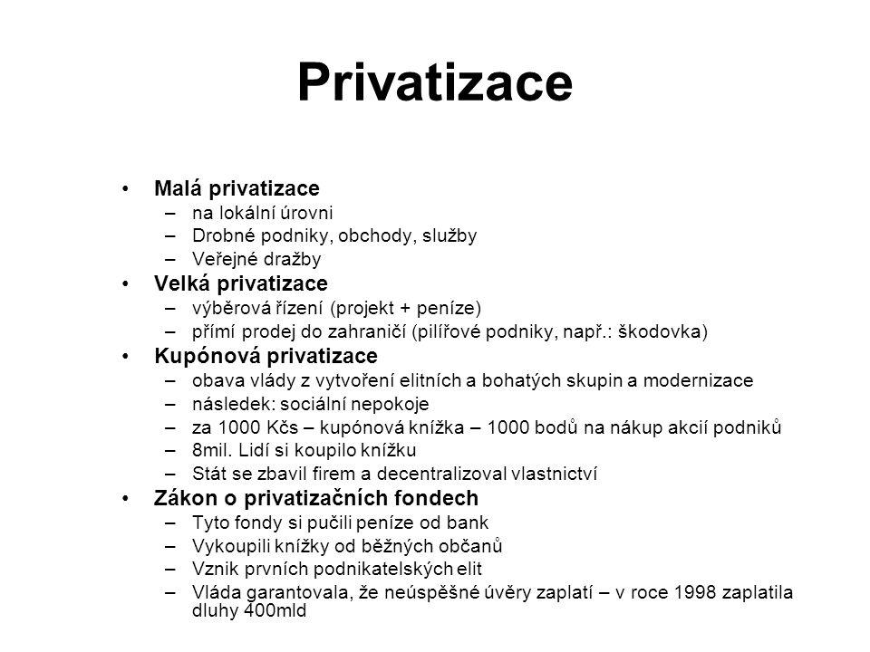 Privatizace Malá privatizace –na lokální úrovni –Drobné podniky, obchody, služby –Veřejné dražby Velká privatizace –výběrová řízení (projekt + peníze) –přímí prodej do zahraničí (pilířové podniky, např.: škodovka) Kupónová privatizace –obava vlády z vytvoření elitních a bohatých skupin a modernizace –následek: sociální nepokoje –za 1000 Kčs – kupónová knížka – 1000 bodů na nákup akcií podniků –8mil.