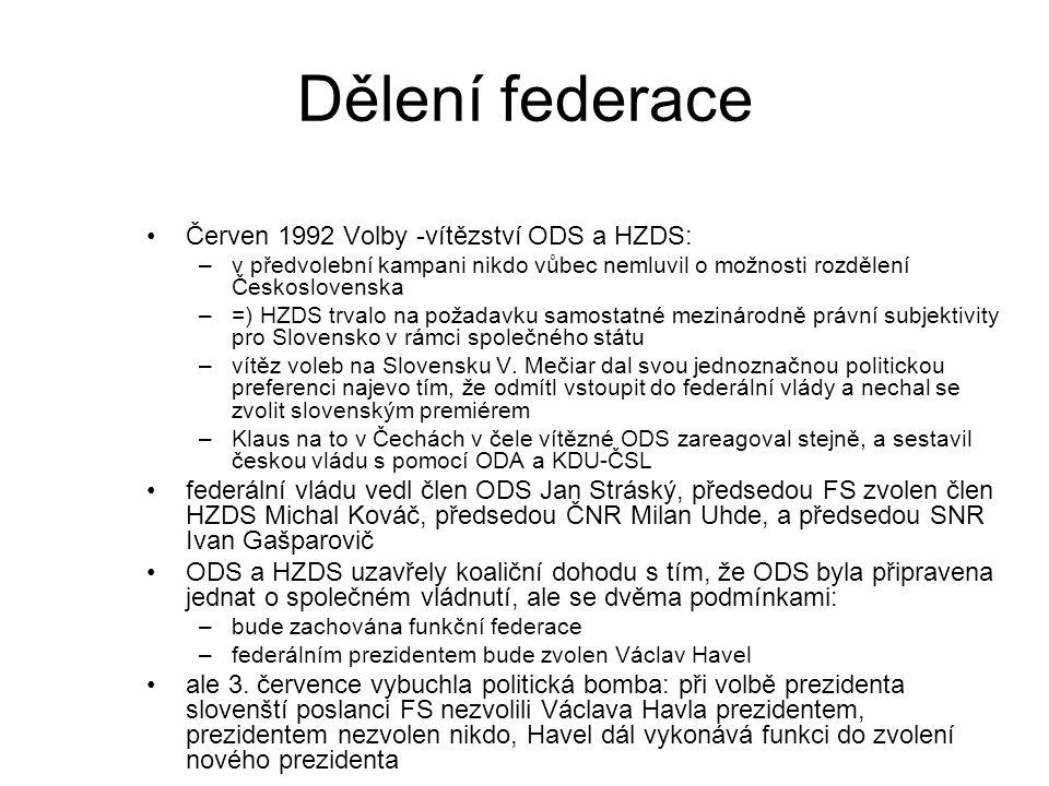 Dělení federace Červen 1992 Volby -vítězství ODS a HZDS: –v předvolební kampani nikdo vůbec nemluvil o možnosti rozdělení Československa –=) HZDS trvalo na požadavku samostatné mezinárodně právní subjektivity pro Slovensko v rámci společného státu –vítěz voleb na Slovensku V.