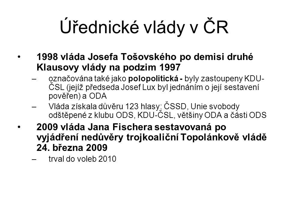 Úřednické vlády v ČR 1998 vláda Josefa Tošovského po demisi druhé Klausovy vlády na podzim 1997 –označována také jako polopolitická - byly zastoupeny KDU- ČSL (jejíž předseda Josef Lux byl jednáním o její sestavení pověřen) a ODA –Vláda získala důvěru 123 hlasy: ČSSD, Unie svobody odštěpené z klubu ODS, KDU-ČSL, většiny ODA a části ODS 2009 vláda Jana Fischera sestavovaná po vyjádření nedůvěry trojkoaliční Topolánkově vládě 24.