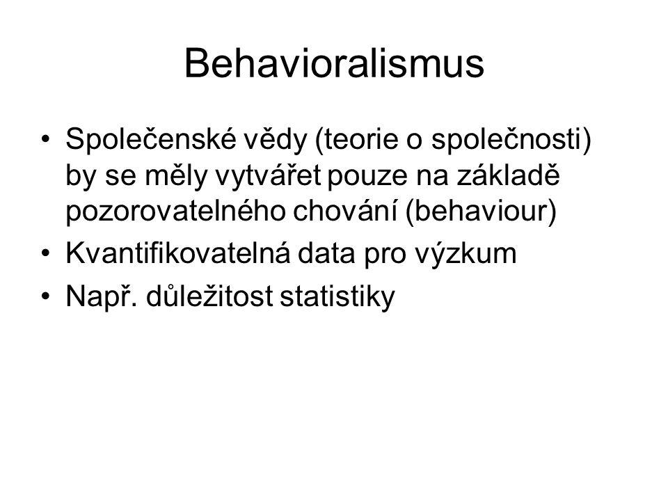 Behavioralismus Společenské vědy (teorie o společnosti) by se měly vytvářet pouze na základě pozorovatelného chování (behaviour) Kvantifikovatelná data pro výzkum Např.