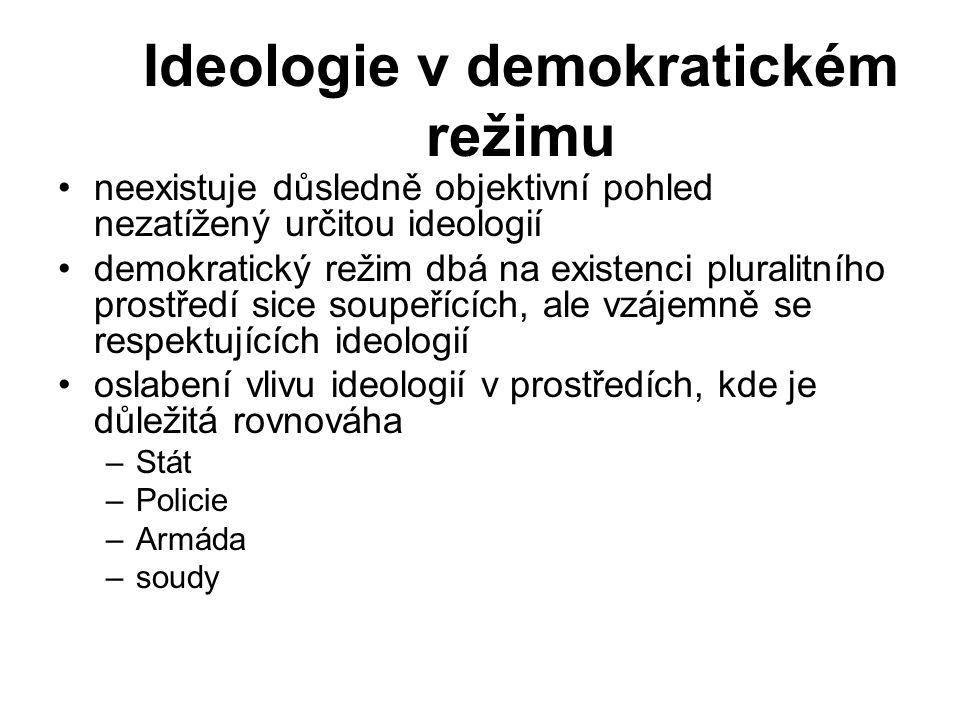 Ideologie v demokratickém režimu neexistuje důsledně objektivní pohled nezatížený určitou ideologií demokratický režim dbá na existenci pluralitního prostředí sice soupeřících, ale vzájemně se respektujících ideologií oslabení vlivu ideologií v prostředích, kde je důležitá rovnováha –Stát –Policie –Armáda –soudy